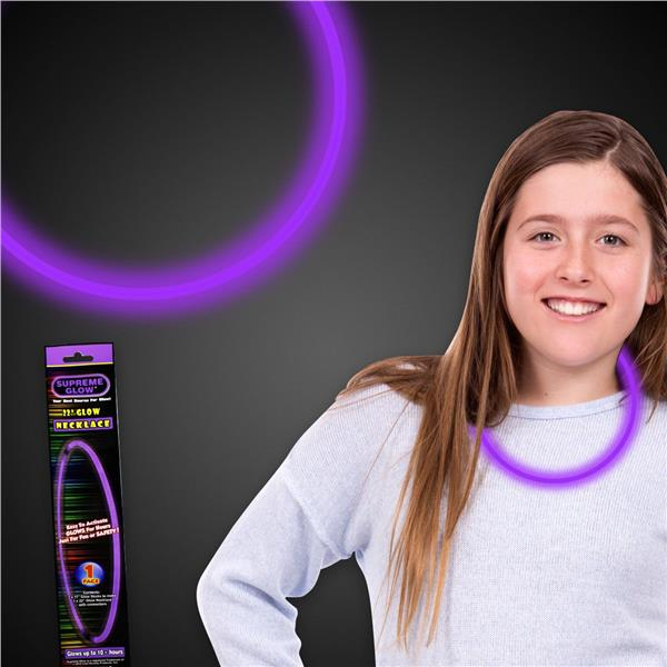 2PK-11 INCH PURPL 6mm GLOW NECKLACE