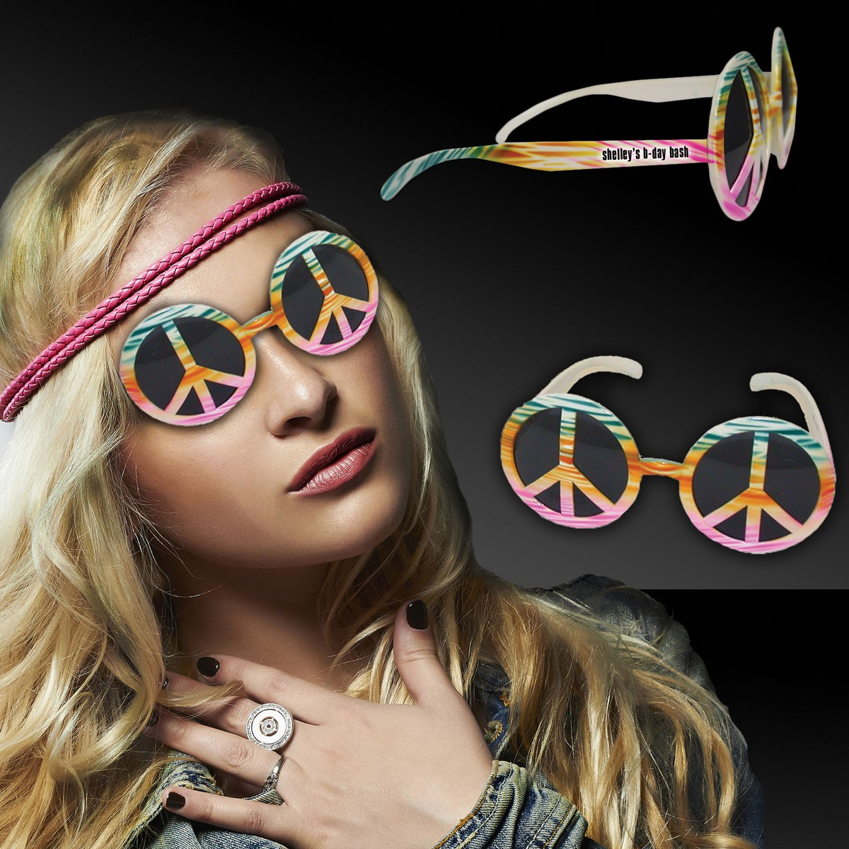 TYE DIE PEACE SIGN SUNGLASSES
