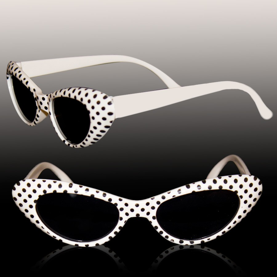 WHITE POLKA DOT KIDS' SUNGLASSES