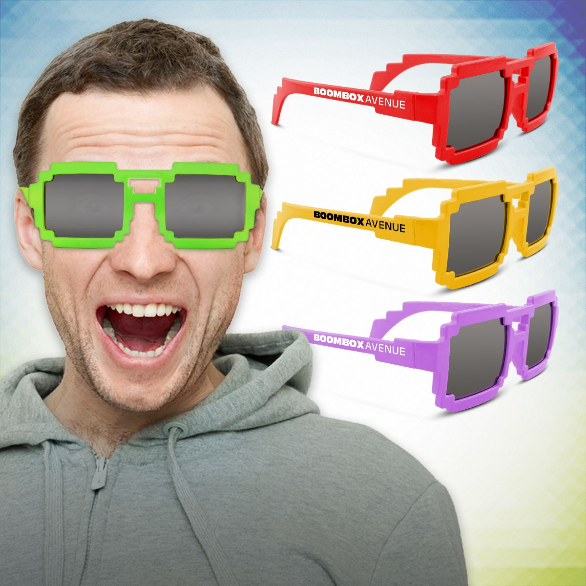 PIXEL MIRRORED SUNGLASSES - 12 PACK