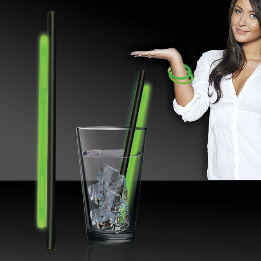 GREEN GLOW STRAW AND BRACELETS - 9 INCH - 25 PER PACK