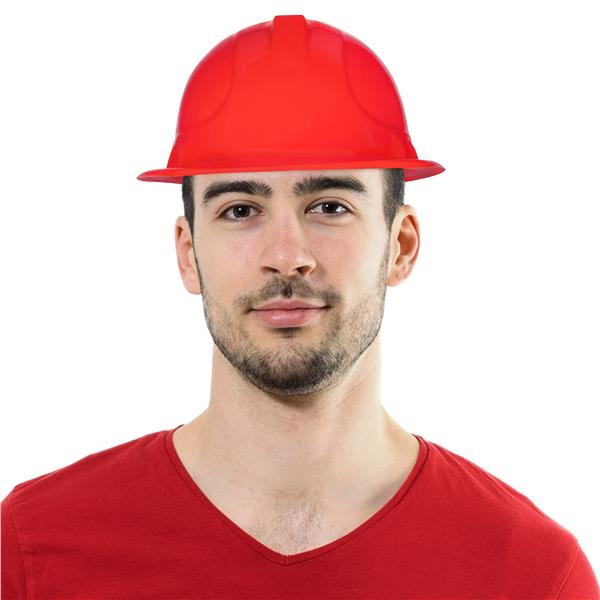 RED PLASTIC CONSTRUCTION HAT