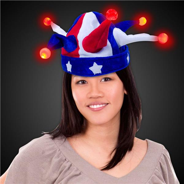 LIGHT-UP USA JESTER HAT