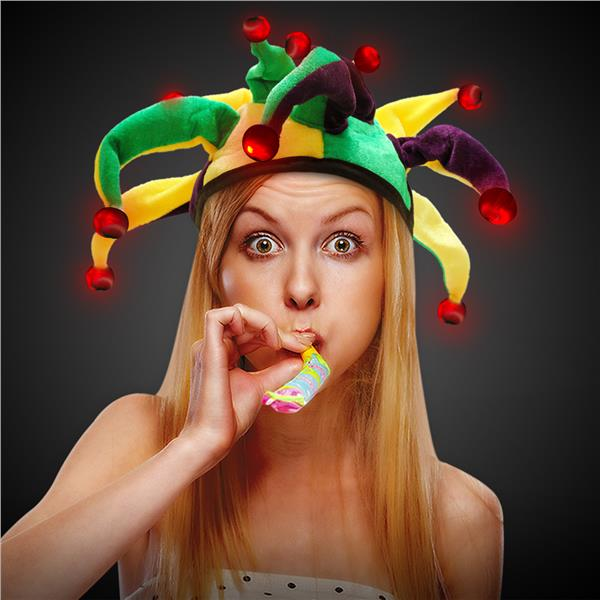 LIGHT-UP MARDI GRAS JESTER HAT