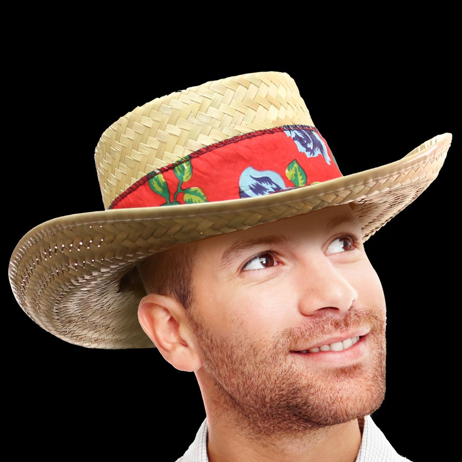 GAMBLER HAT WITH FLORAL BAND