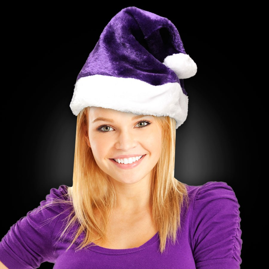 PURPLE PLUSH SANTA HAT - ADULT