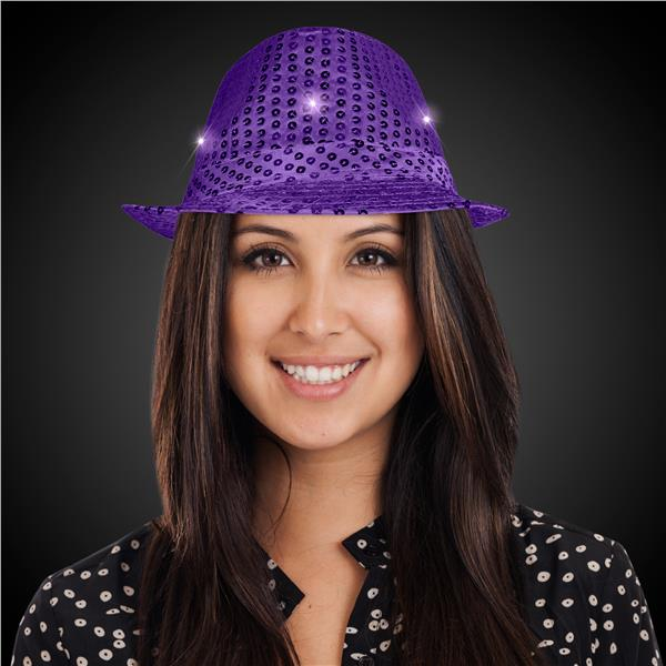 PURPLE SEQUIN LU FEDORA W
