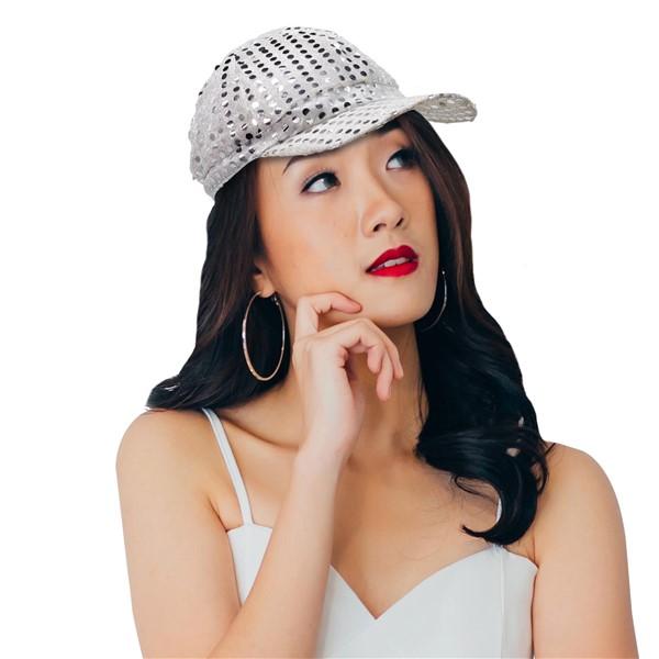 SEQUIN BASEBALL CAP- SILVER