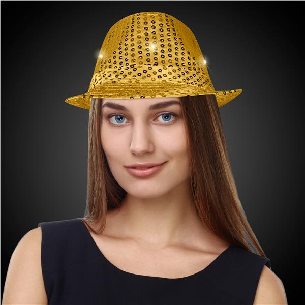 GOLD SEQUIN LU FEDORA W