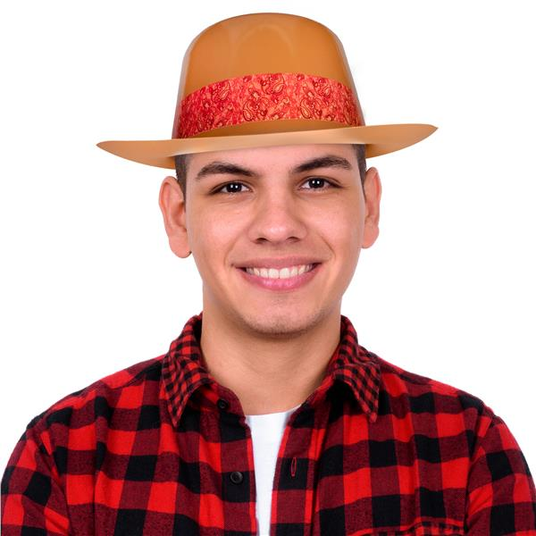COWBOY HAT-BROWN PLASTIC WITH RED