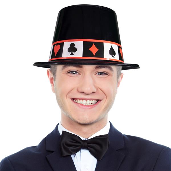 CASINO TOP HAT - BLACK PLASTIC