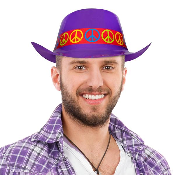 COWBOY HAT-PURPLE PLASTIC W