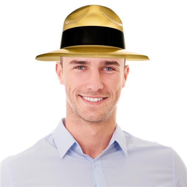 METALLIC GOLD GANGSTER HAT W