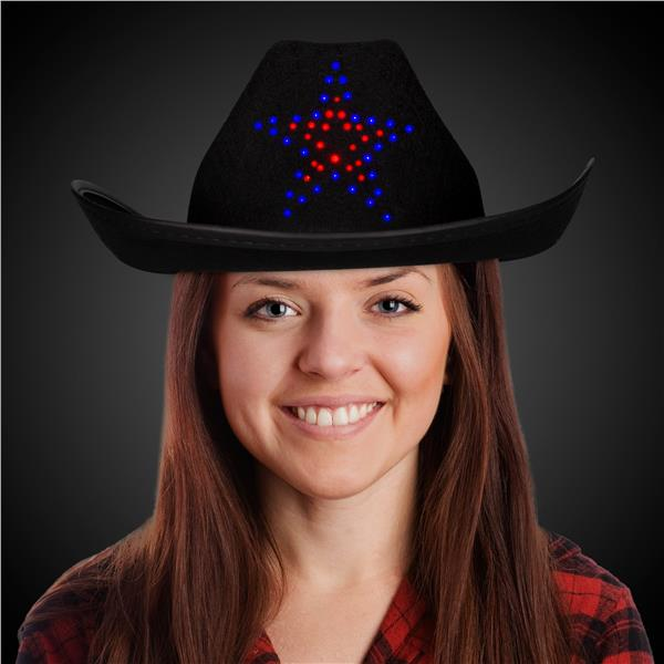 LITE UP STAR BLACK COWBOY HAT