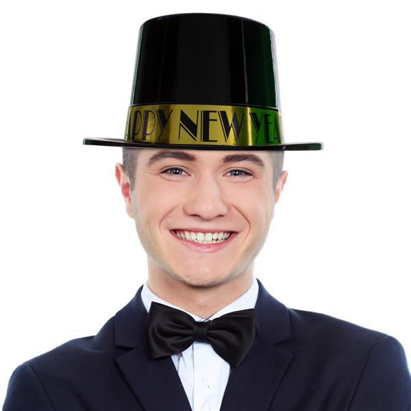 BLACK TOP HAT WITH GOLD HNY