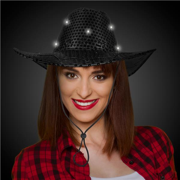 BLACK SEQUIN LU COWBOY HAT W