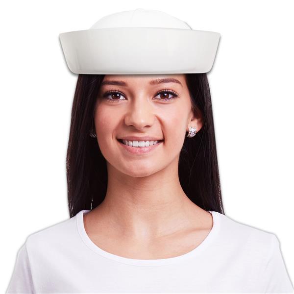 WHITE PLASTIC SAILOR HAT