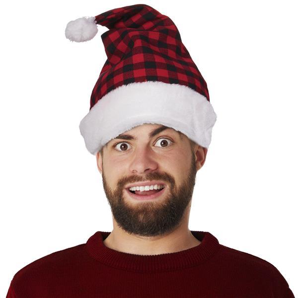 RED BLACK PLAID SANTA HAT