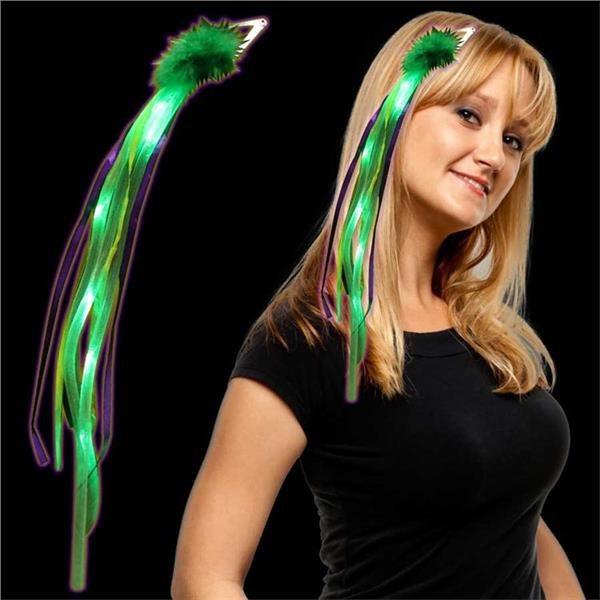 MARDI GRAS LED RIBBON FASCINATOR