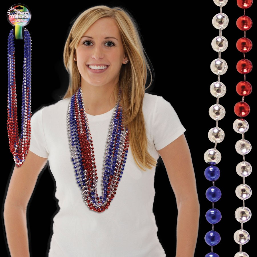 36 INCH RED SILVER BLUE BEAD NECKLACES