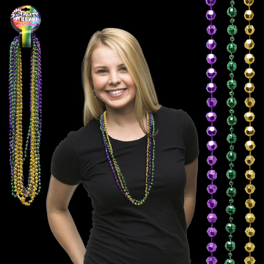 33 INCH MARDI GRAS BEAD FACETED NECKLACES