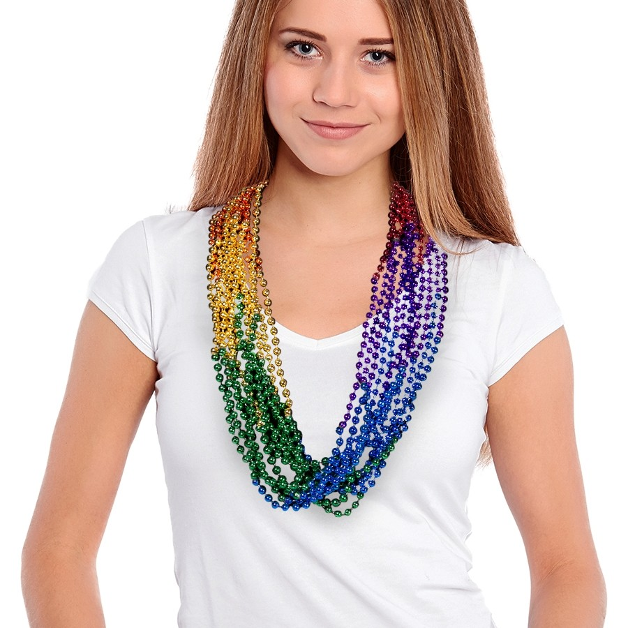 33 INCH RAINBOW BEAD NECKLACES