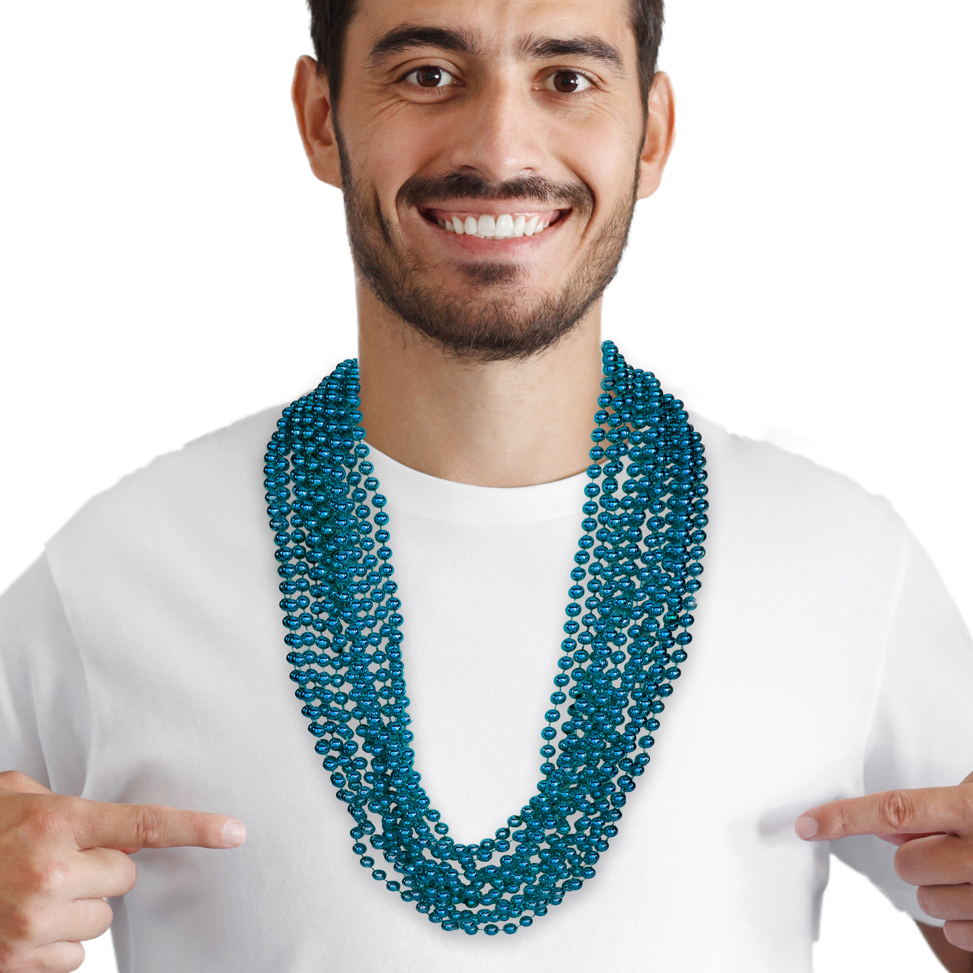 33 INCH TEAL BEAD NECKLACES