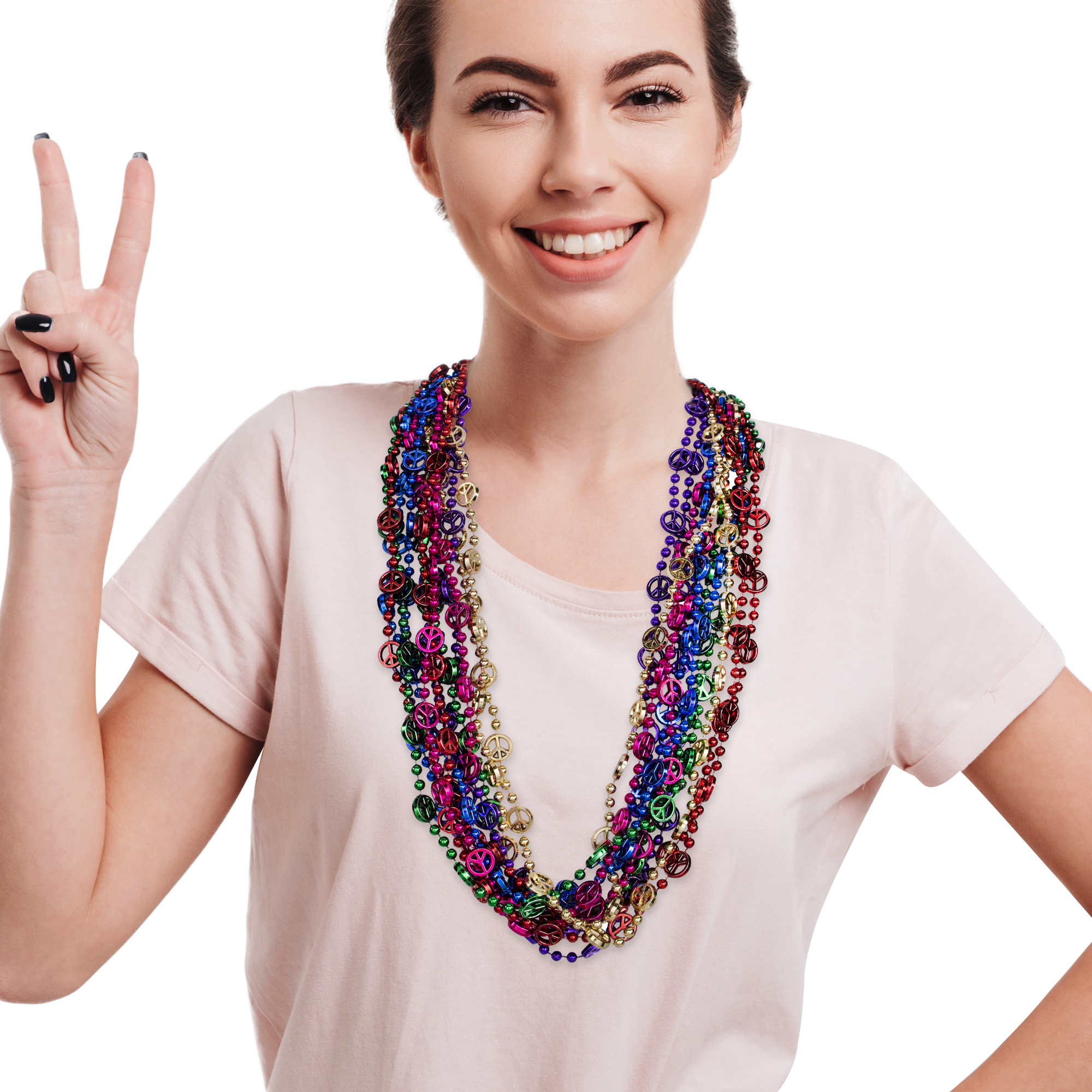 33 INCH PEACE SIGN BEAD NECKLACES