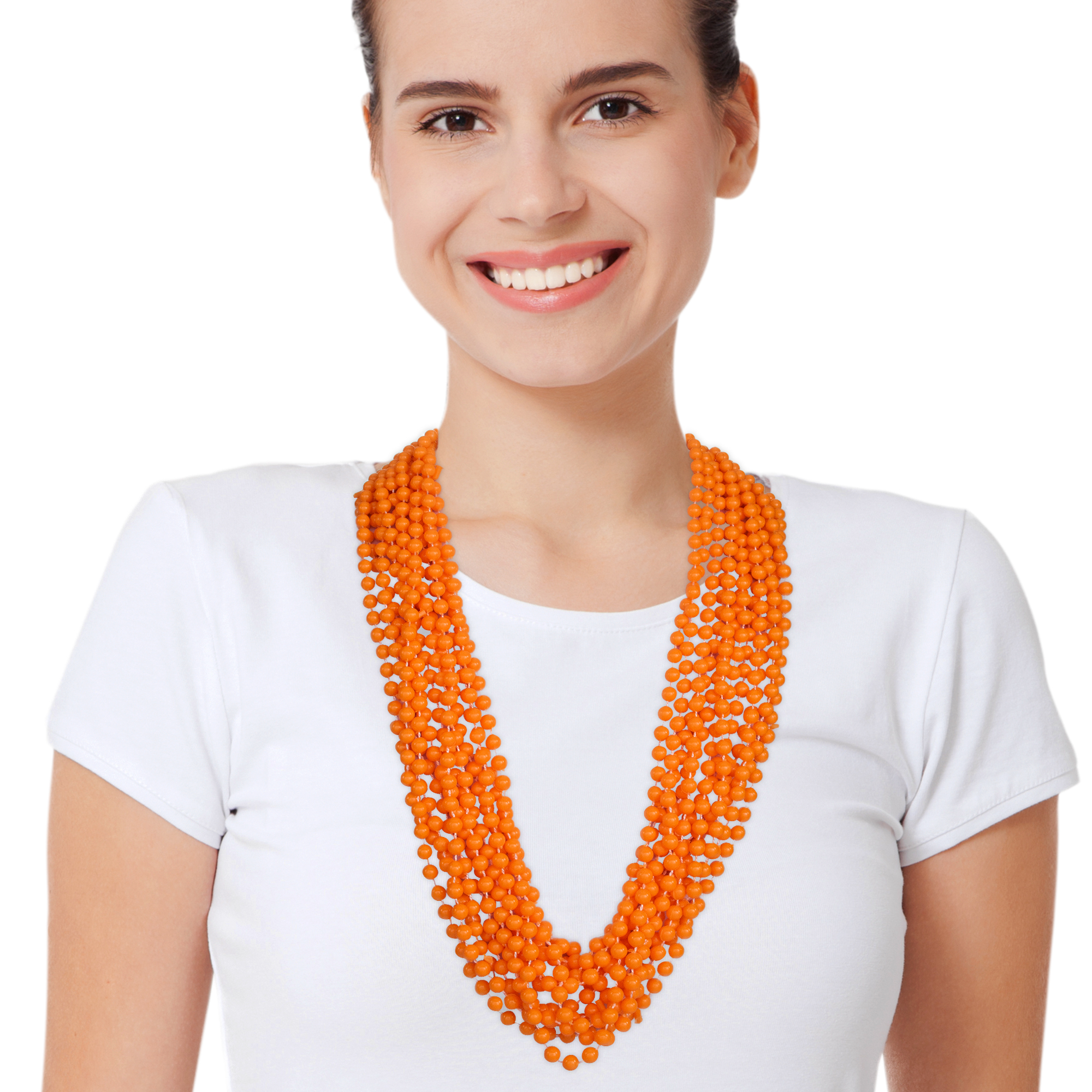 33 INCH ORANGE BEAD NECKLACES