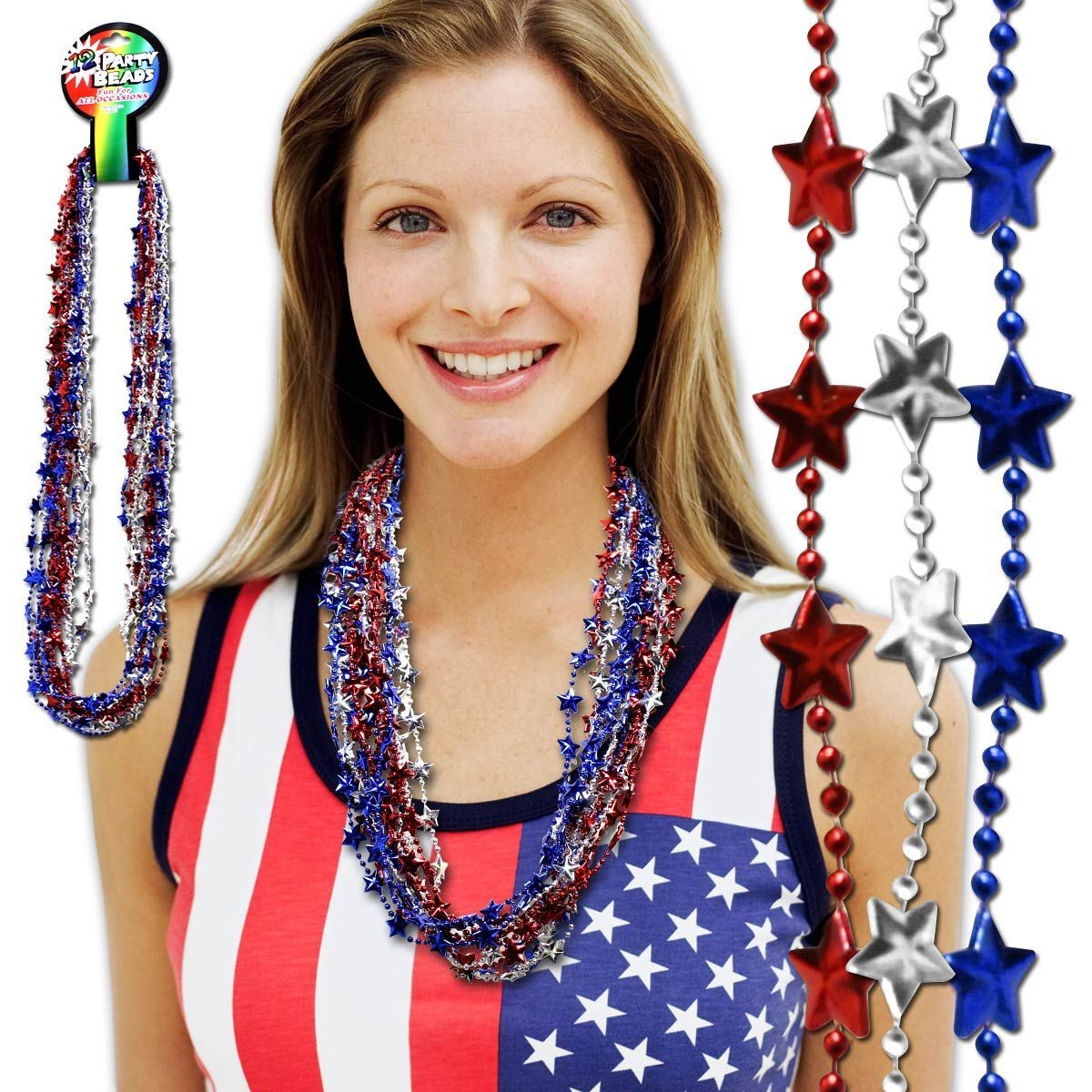 33 INCH RBSLVR STARS ASST BEADS NECKLACE
