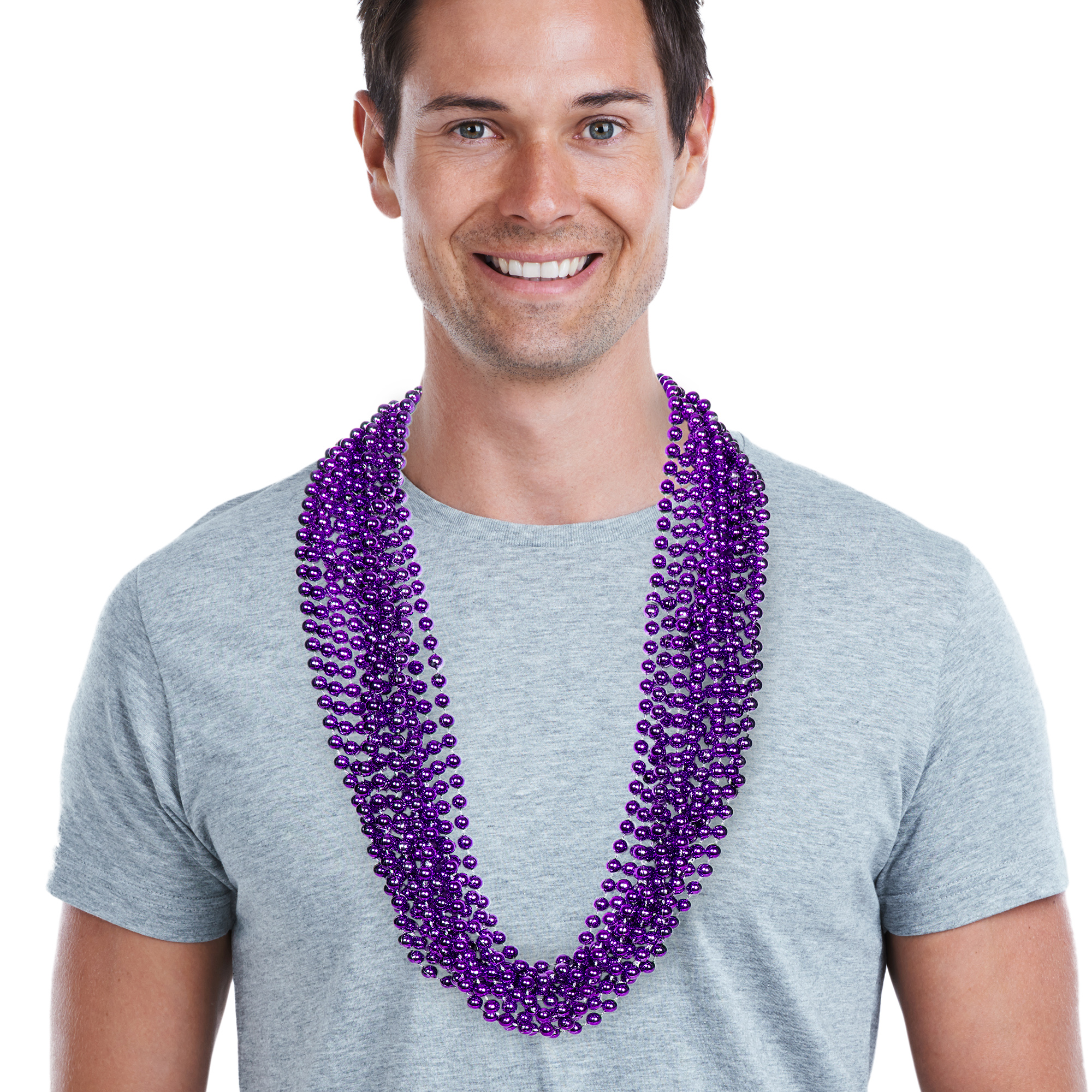33 INCH PURPLE METALLIC BEAD