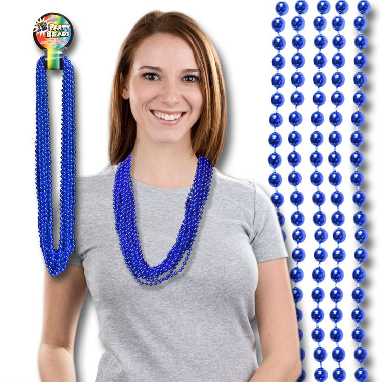33 INCH  BLUE METALLIC ROUND BEAD