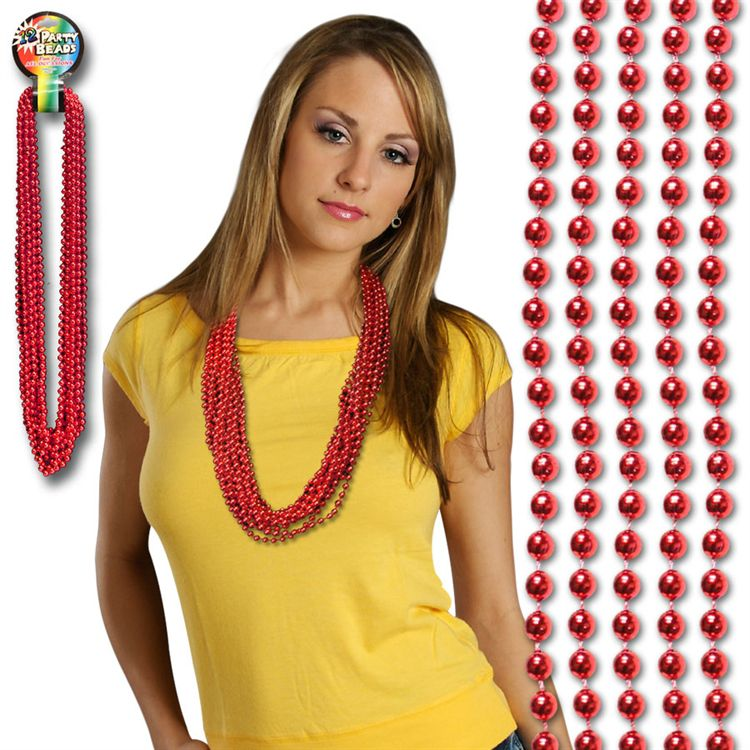 33 INCH RED METALLIC ROUND BEAD