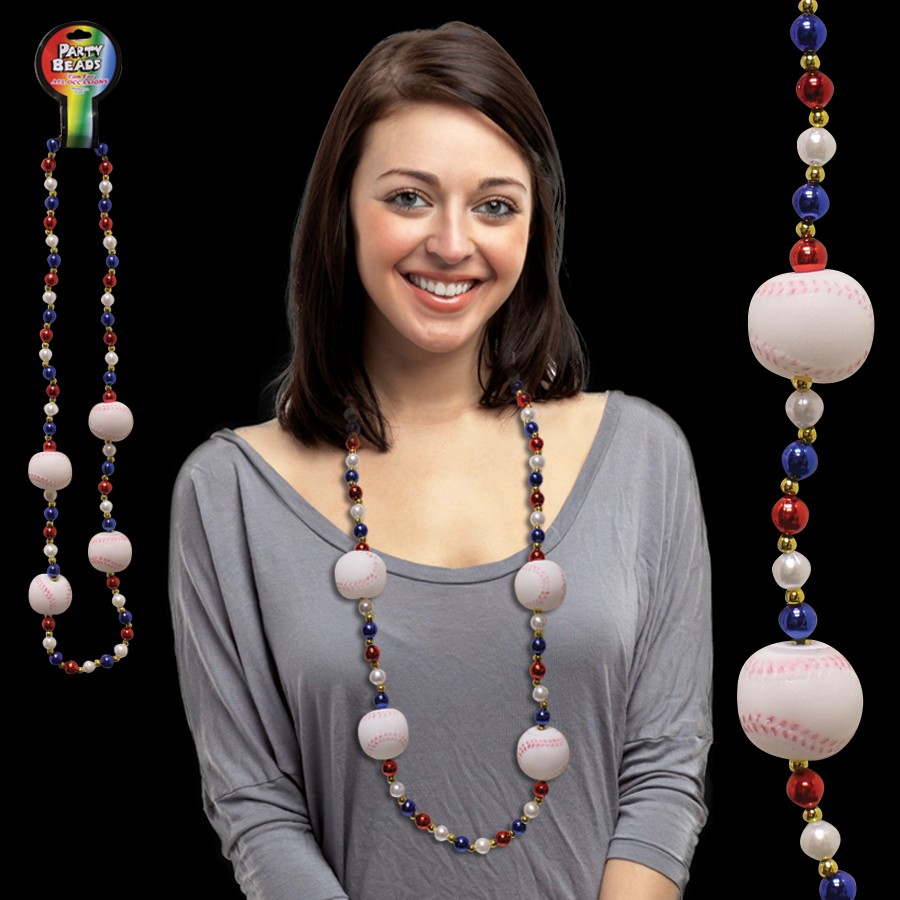 BASEBALL BEAD NECKLACE - 42