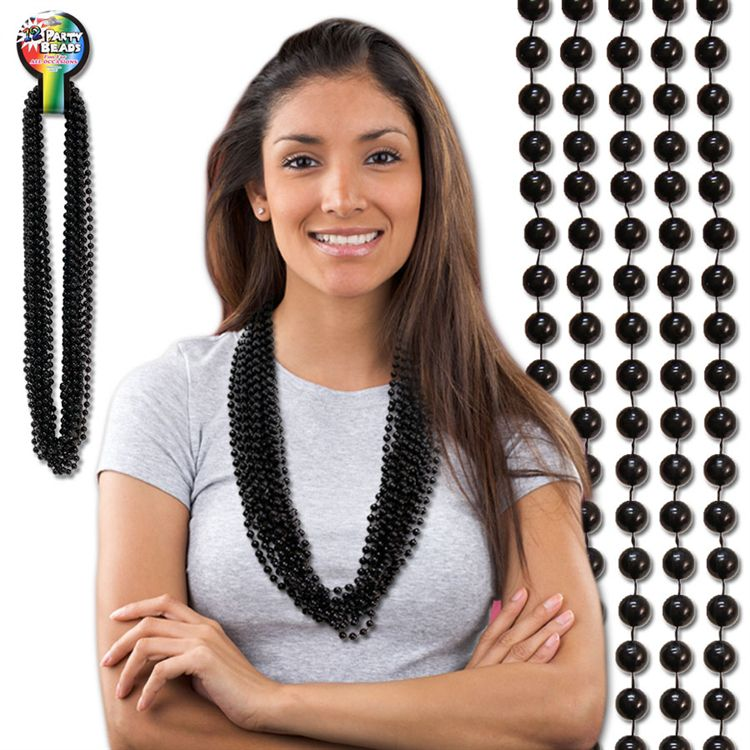 33 INCH BLACK METALLIC ROUND BEAD NECKLACES