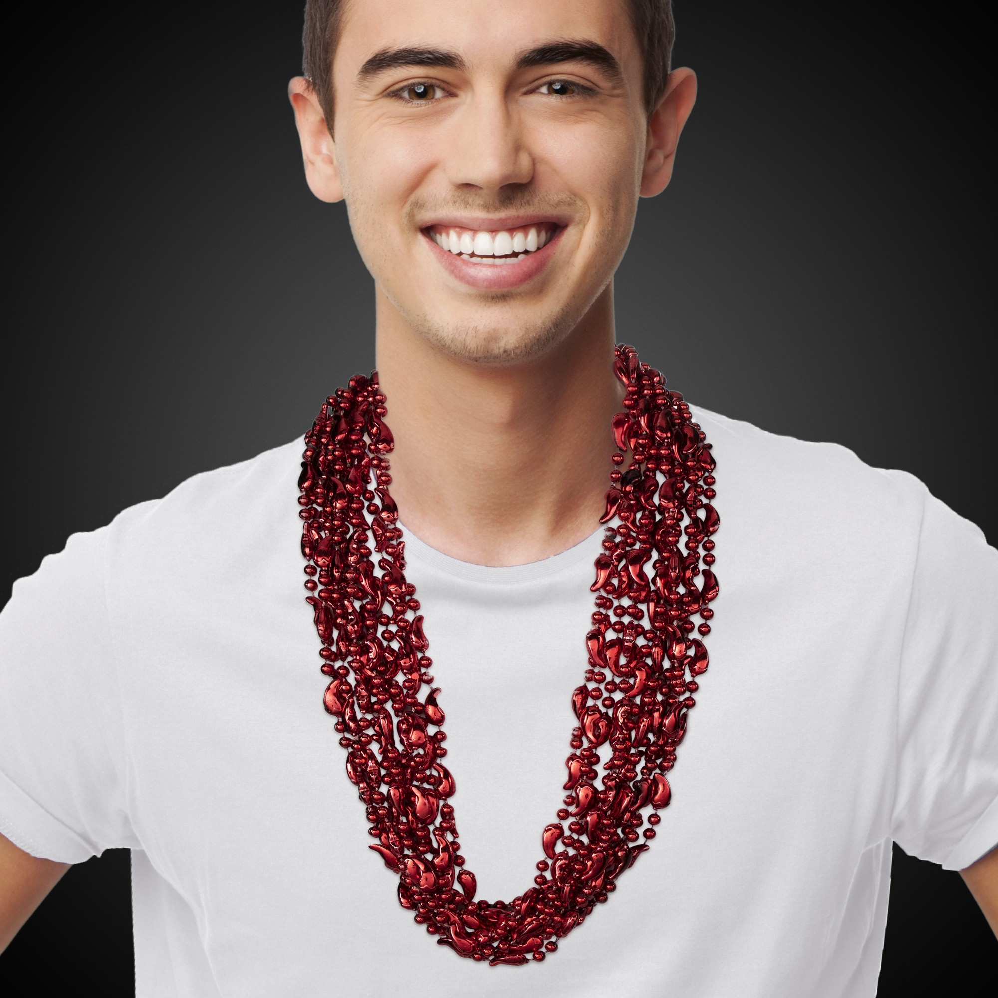 33 INCH RED CHILI PEPPER BEAD NECKLACES