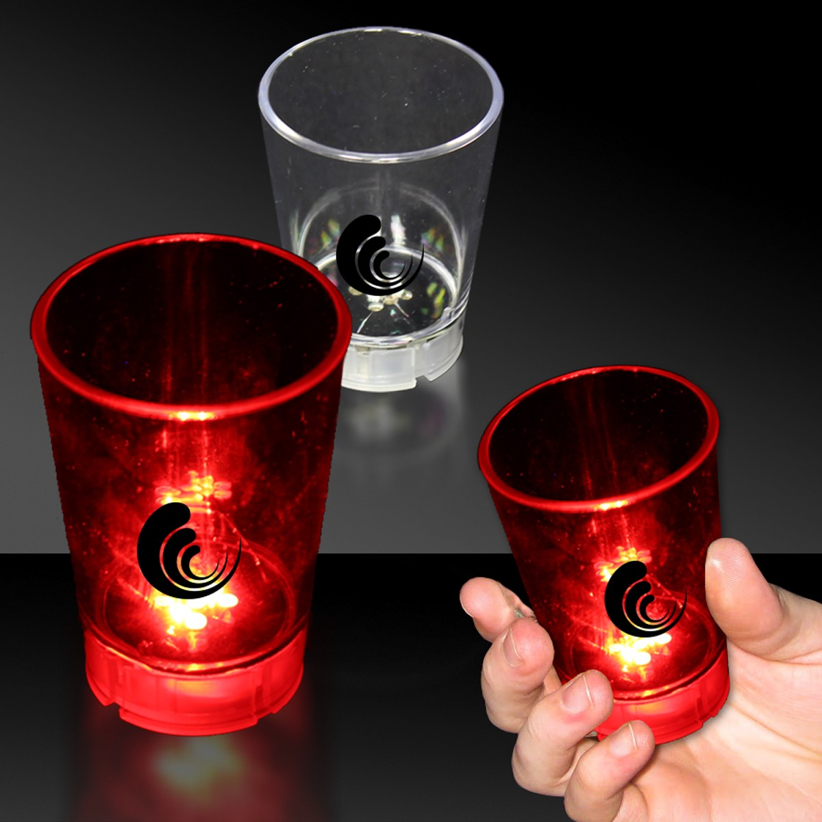 LED RED DICE 2OZ SHOT GLASS