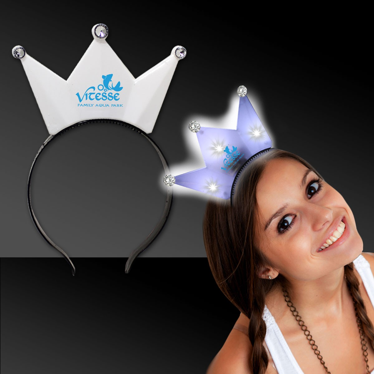 WHITE LIGHT UP CROWN HEADBAND