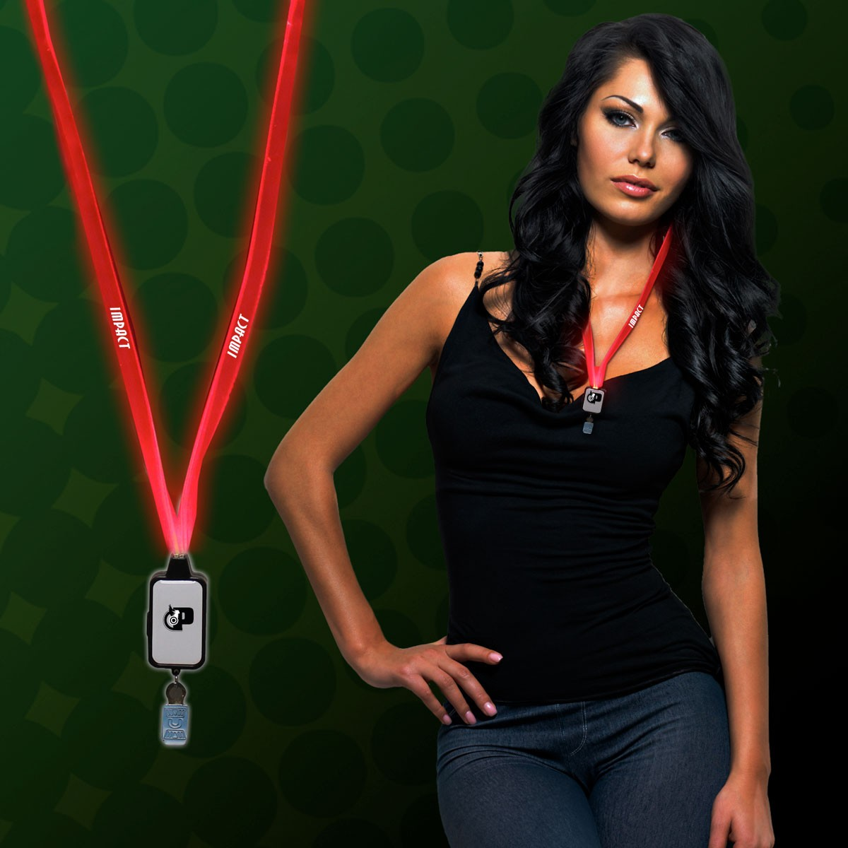 RED LED LANYARD WBADGE CLIP