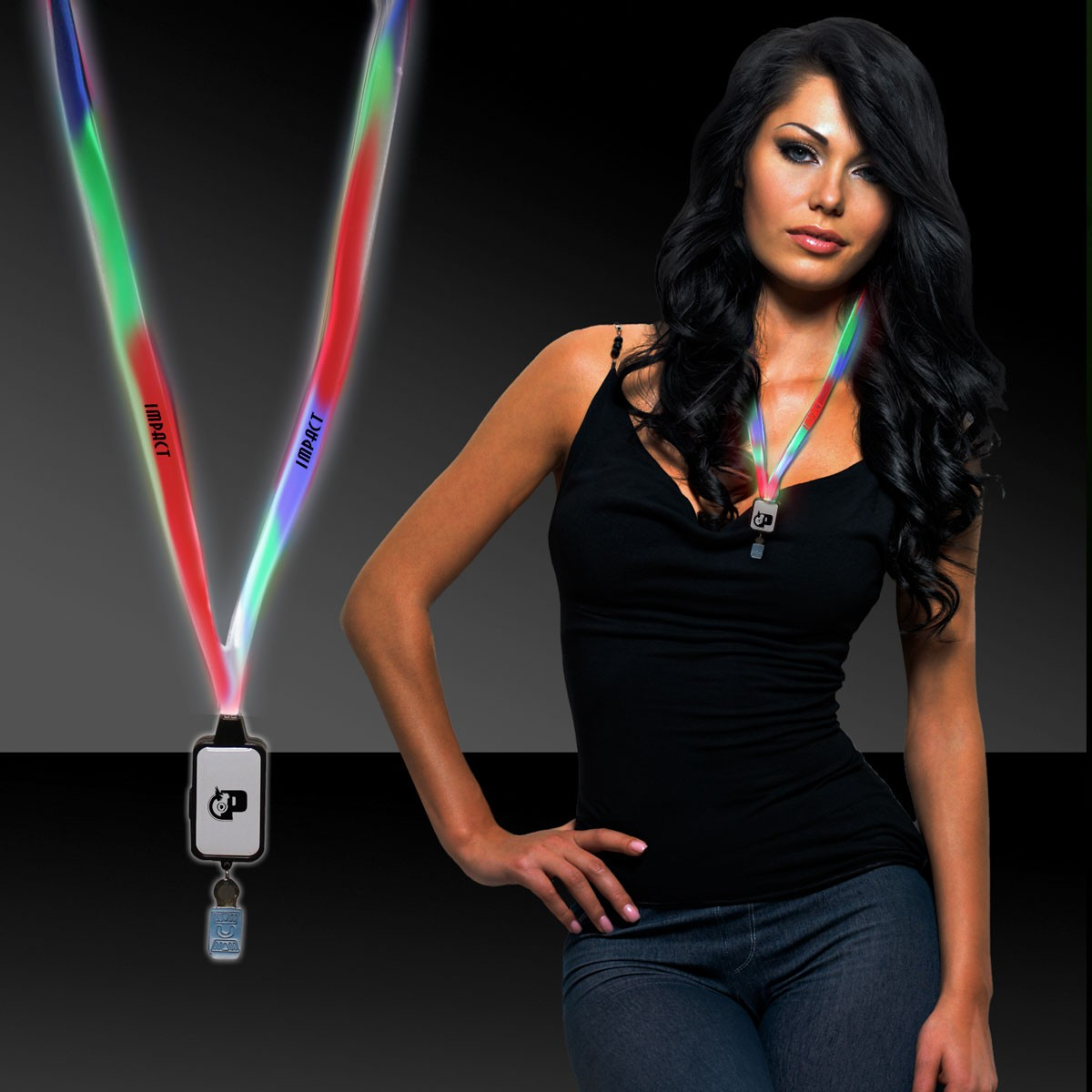 MULTI-LED LANYARD WBADGE CLIP