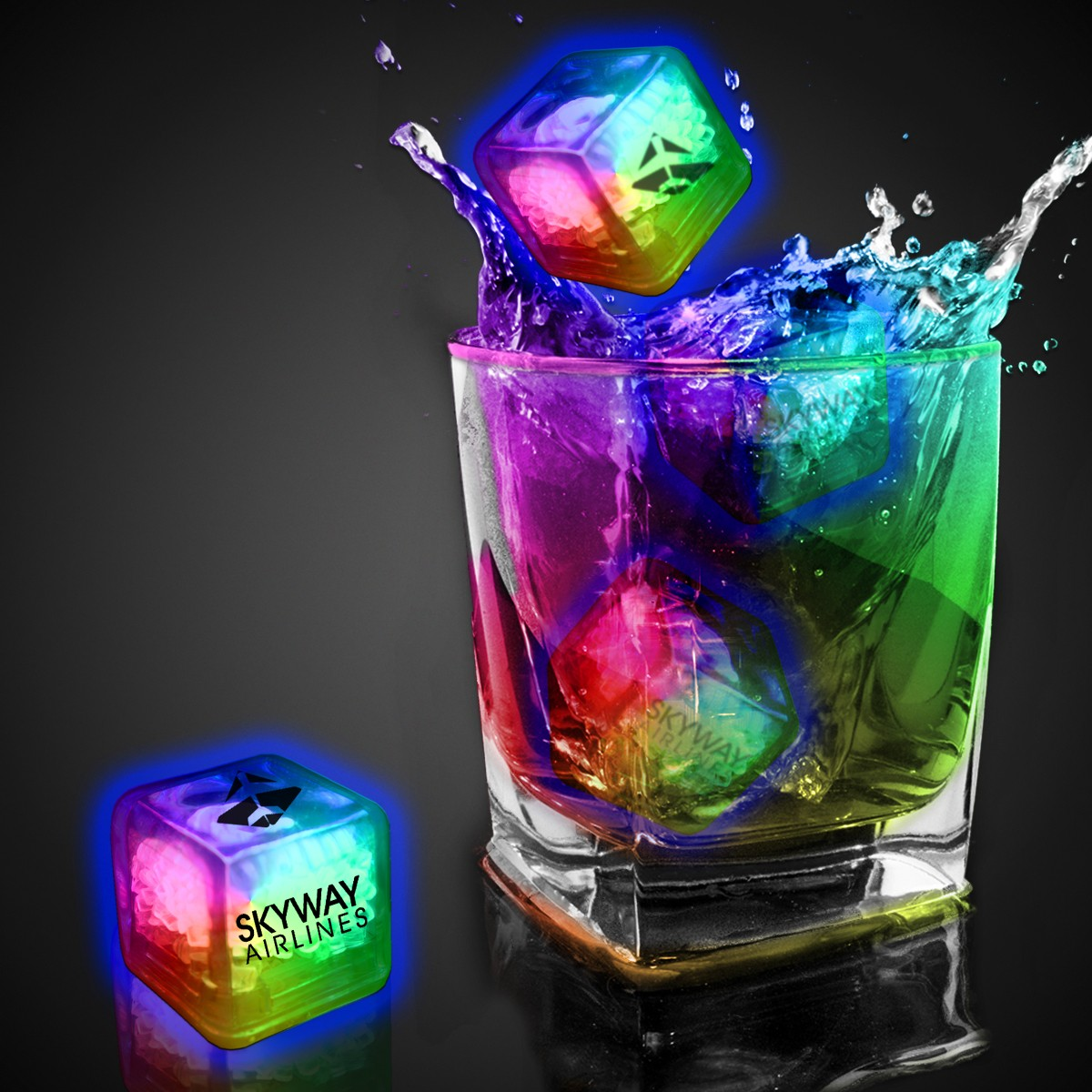RAINBOW LED - CLEAR ICE CUBE