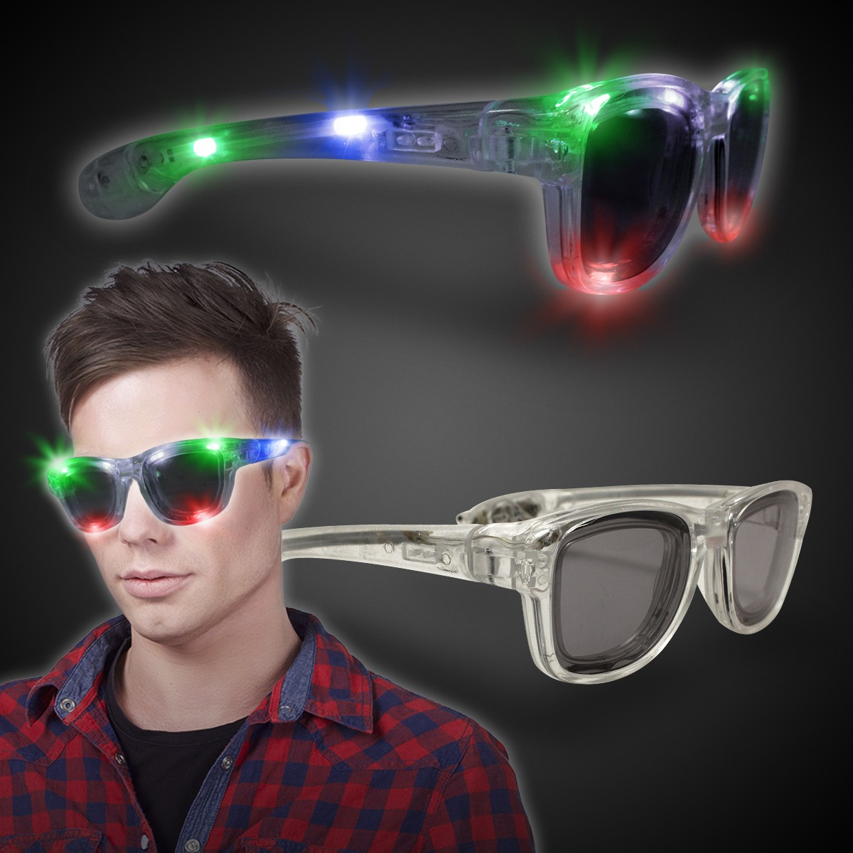 SQUARE LED SUNGLASSES - CLEAR
