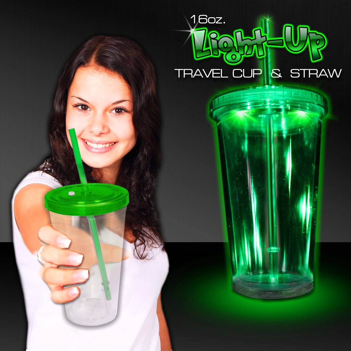 GREEN LED 16 OZ DOUBLE WALL CUP