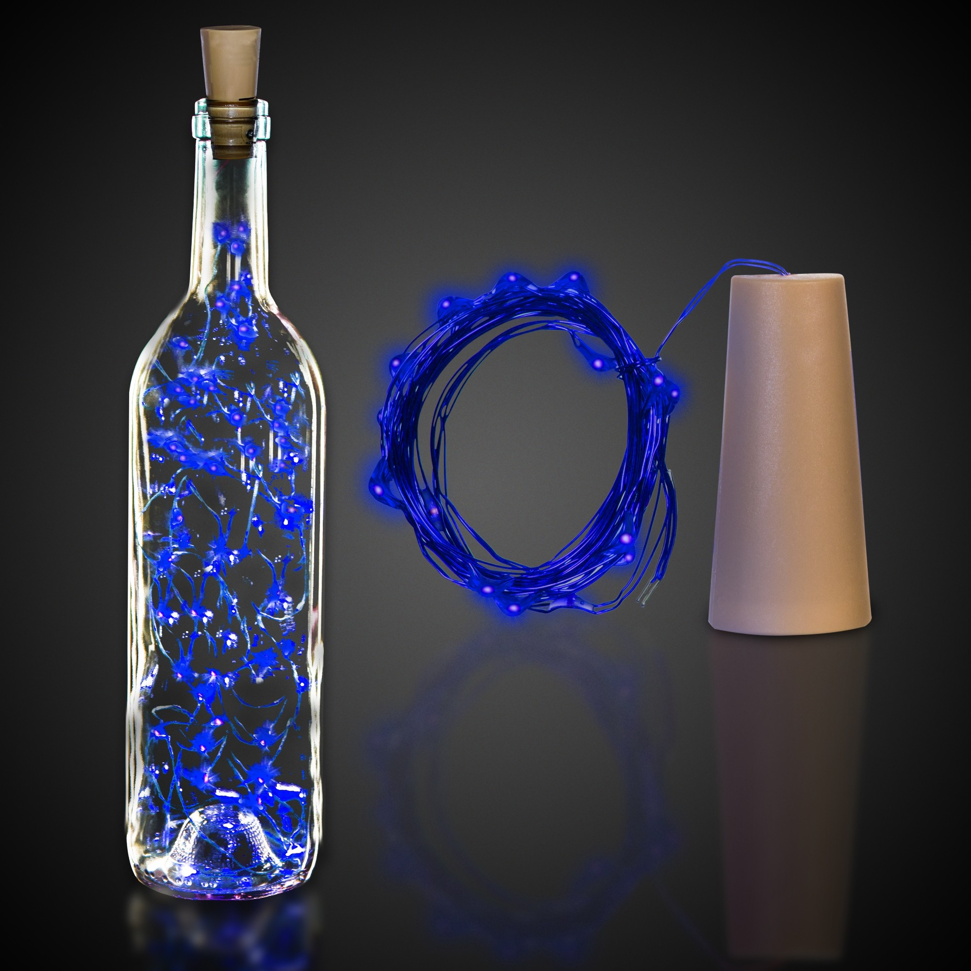 CORK STRING LIGHT SET-BLUE LED