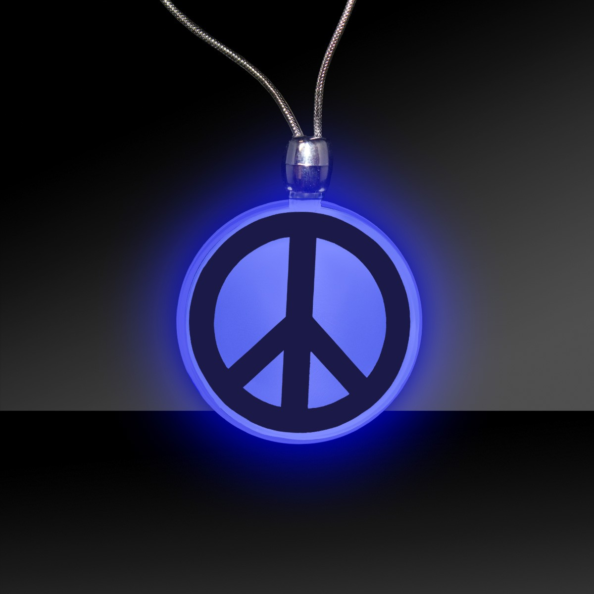 BLUE PEACE SIGN LED NECKLACE