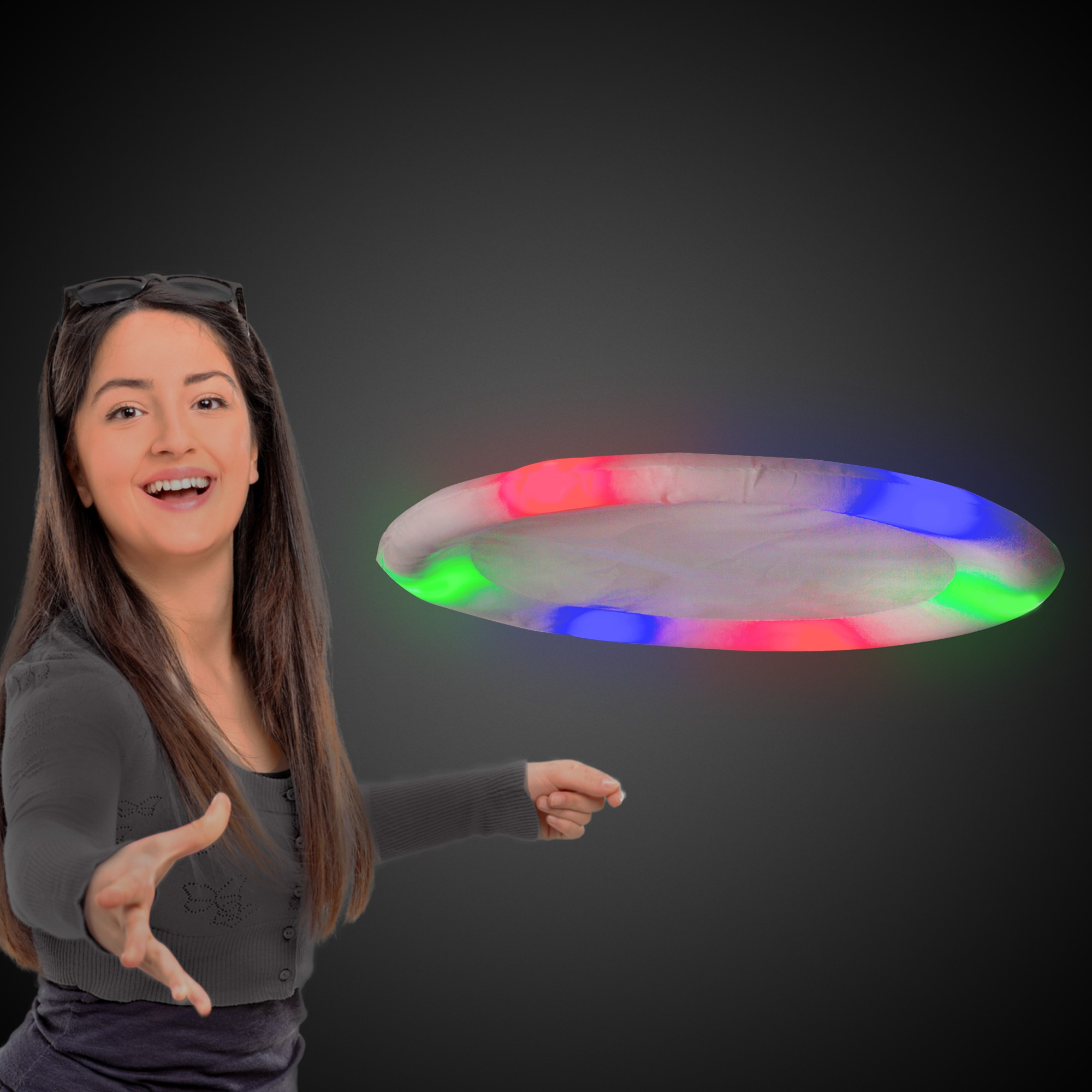 WHITE FABRIC LED FLYING DISC