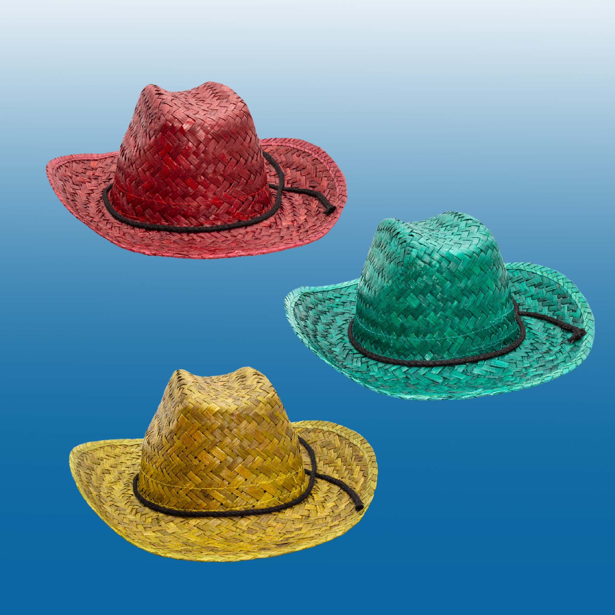 Adult Neon Straw Cowboy Hat Assorted - 12ct