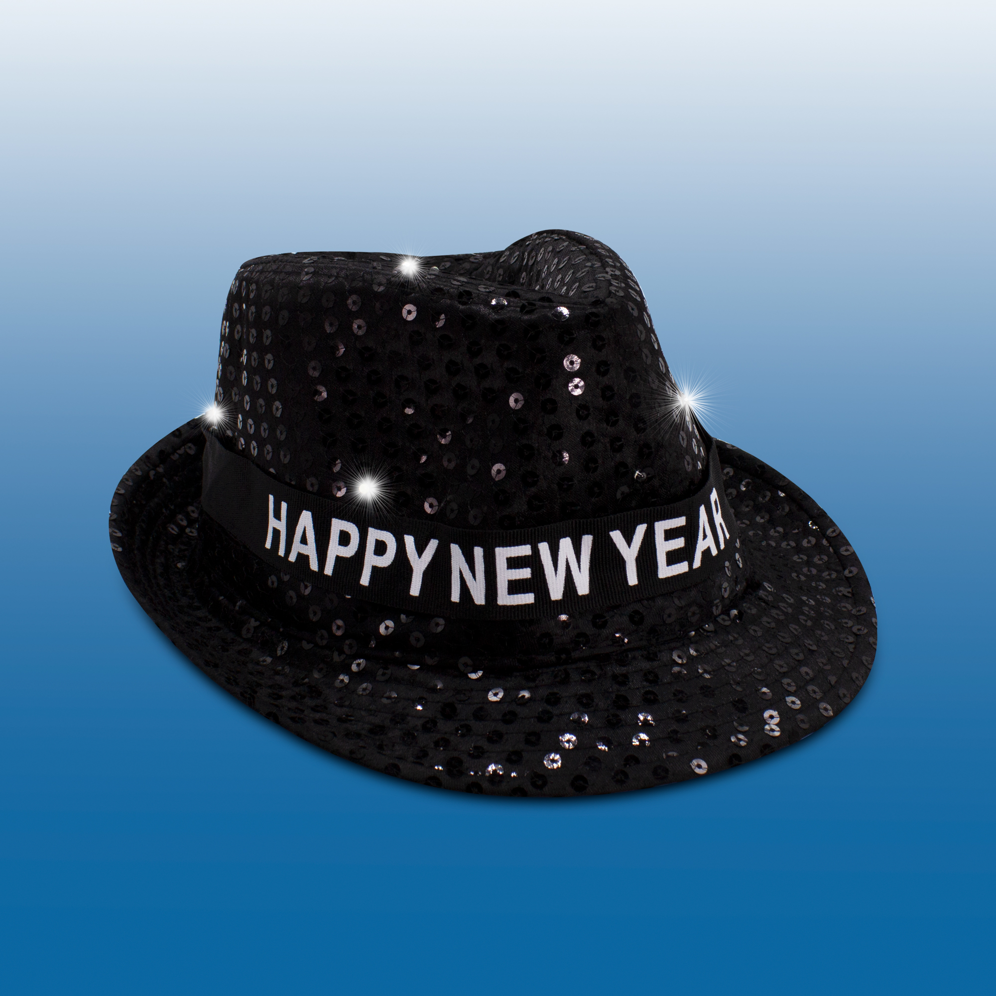 LED Sequin New Year Fedora - Black