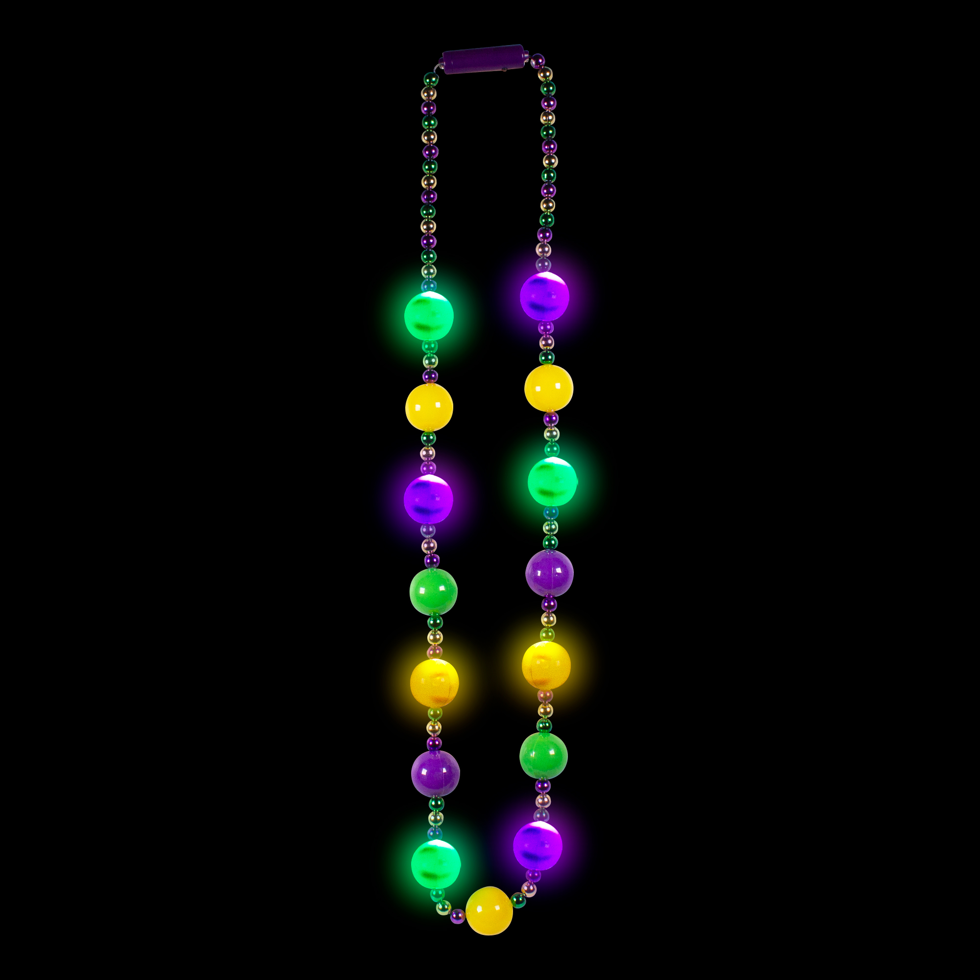 MARDI GRAS BALL BEADS NECKLACE 15X30MM BALLS 8 LED