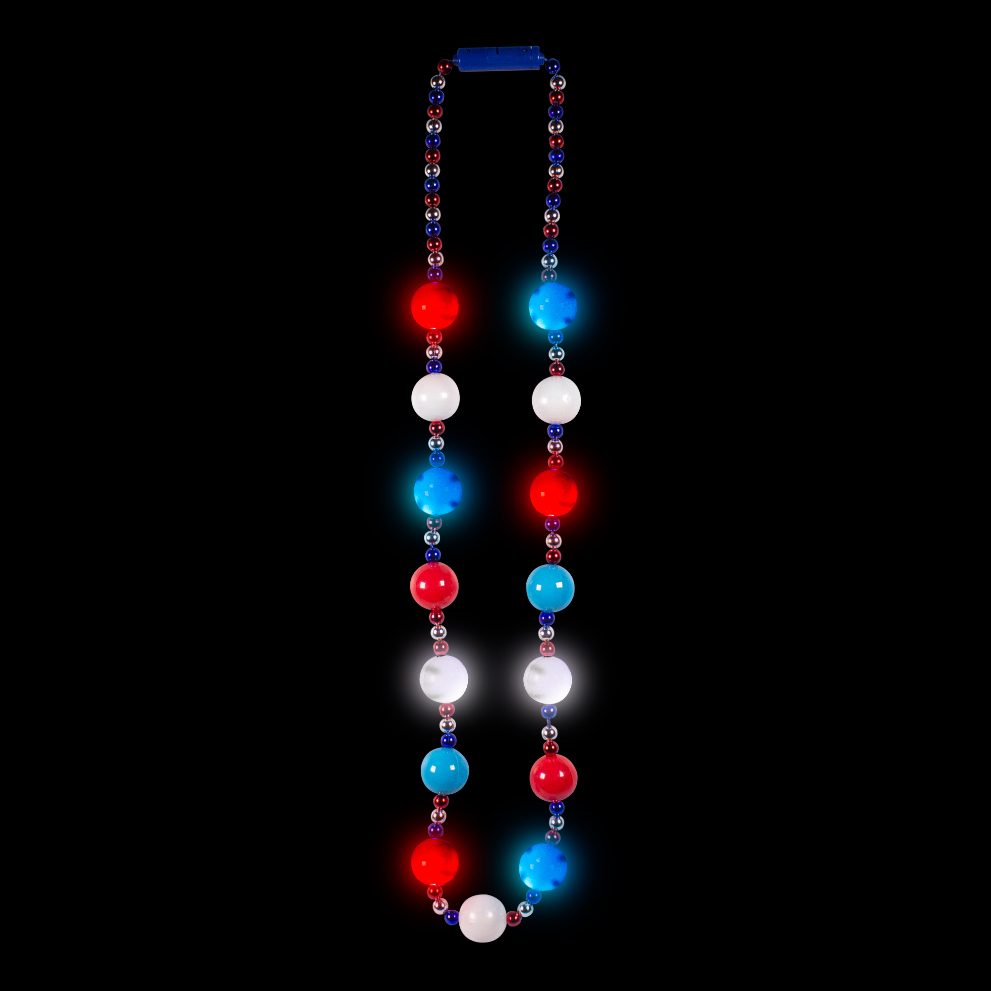 PATRIOTIC BALL BEADS NECKLACE 15X30MM BALLS 8 LED